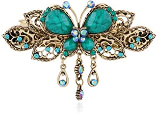 ShungFun Women French Hair Clips Vintage Metal Hollow Carving Butterfly Pattern Hair Clips Retro Big French Clips Pigtail Spring Clips Hair Holders Barrettes w/Rhinestones for Girls (Blue)