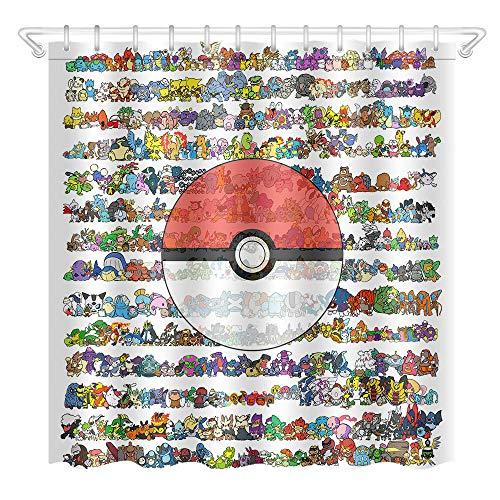 WENHUI Pokemon Ball Duschvorhang Badezimmer Durable Stoff Schimmel Badezimmer Zubehör Kreativ mit 12 Haken 180 x 180 cm