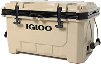Igloo IMX 70 Quart Lockable Insulated Ice Chest Roto-Molded Cooler with Carry Handles, Tan