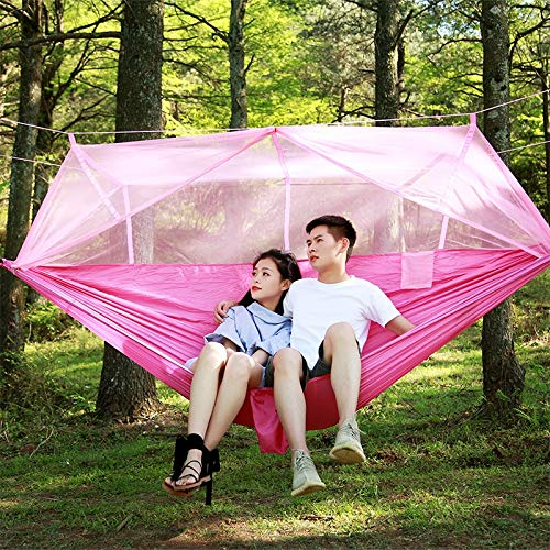 YPshell 1-2 People Outdoor Mosquito Net Parachute Hammock Camping Hanging Bed for Sleeping Swing Double Portable Chair, 260 x 140 cm, pink