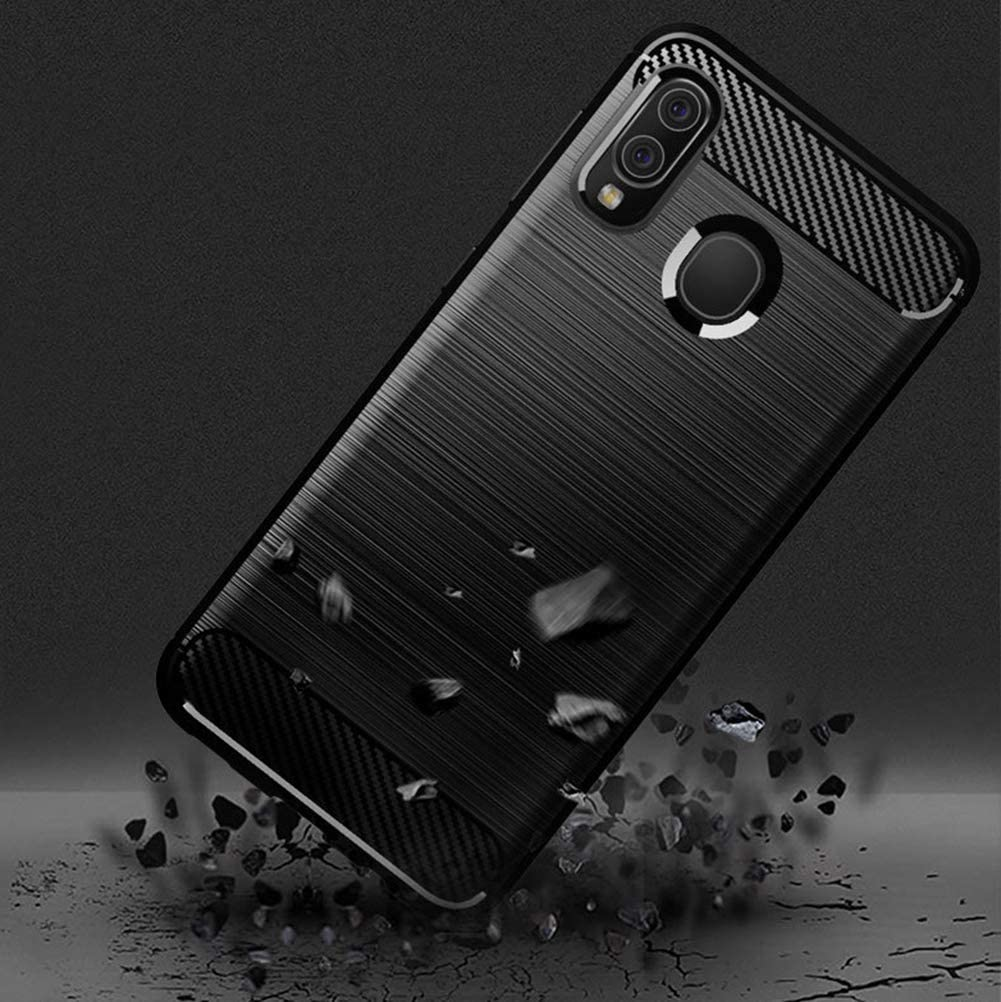 Samsung A20 case,Galaxy A20 Case,Galaxy A30 Case,MAIKEZI Soft TPU Slim Fashion Anti-Fingerprint Non-Slip Protective Phone Case Cover for Samsung Galaxy A20/A30(Black Brushed TPU)