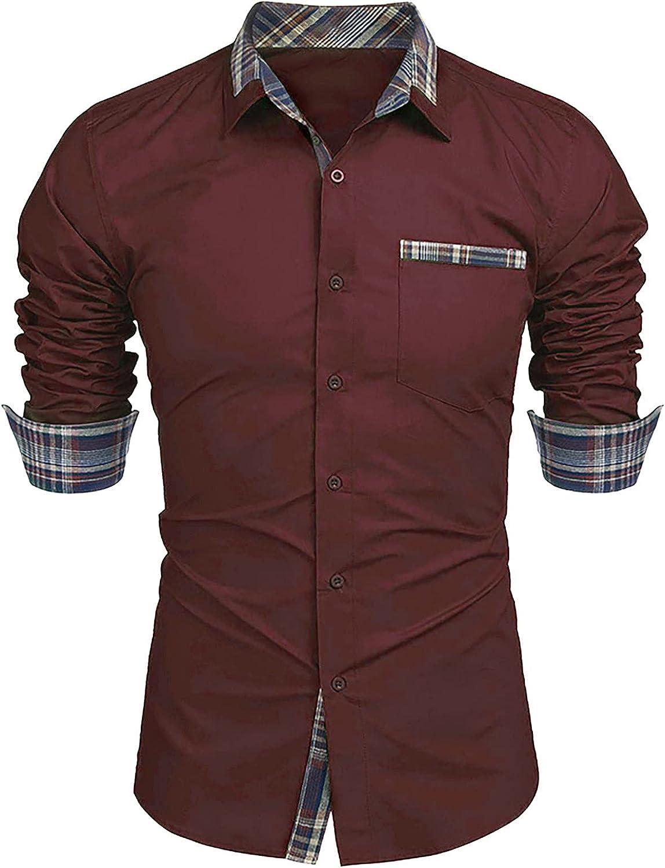 Huangse Men's Business Dress Shirt Long Sleeve Casual Fashion Patchwork Button Down Lapel Shirts Slim Fit Tops