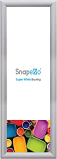 SnapeZo Poster Frame 8x24 Inches, Silver 1 Inch Aluminum Profile, Front-Loading Snap Frame, Wall Mounting, Sleek Series