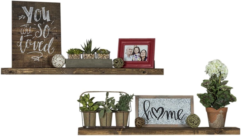 Del Hutson Designs-Rustic Pine Floating Shelves (Dark Walnut, 36 Inch)