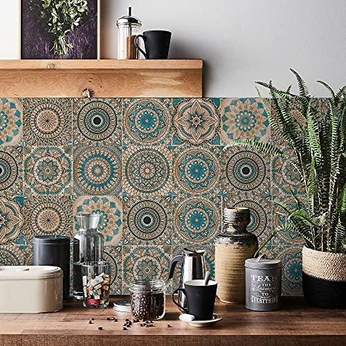 Carrelage Adhésif 15x15 Mandala Credence Adhesive pour Cuisine Brique,24 Pcs Stickers Muraux Salle de Bains Cuisine Carrelage Adhesif Mural avec Motifs de Carrelage Dalle Pvc Adhesive Murale