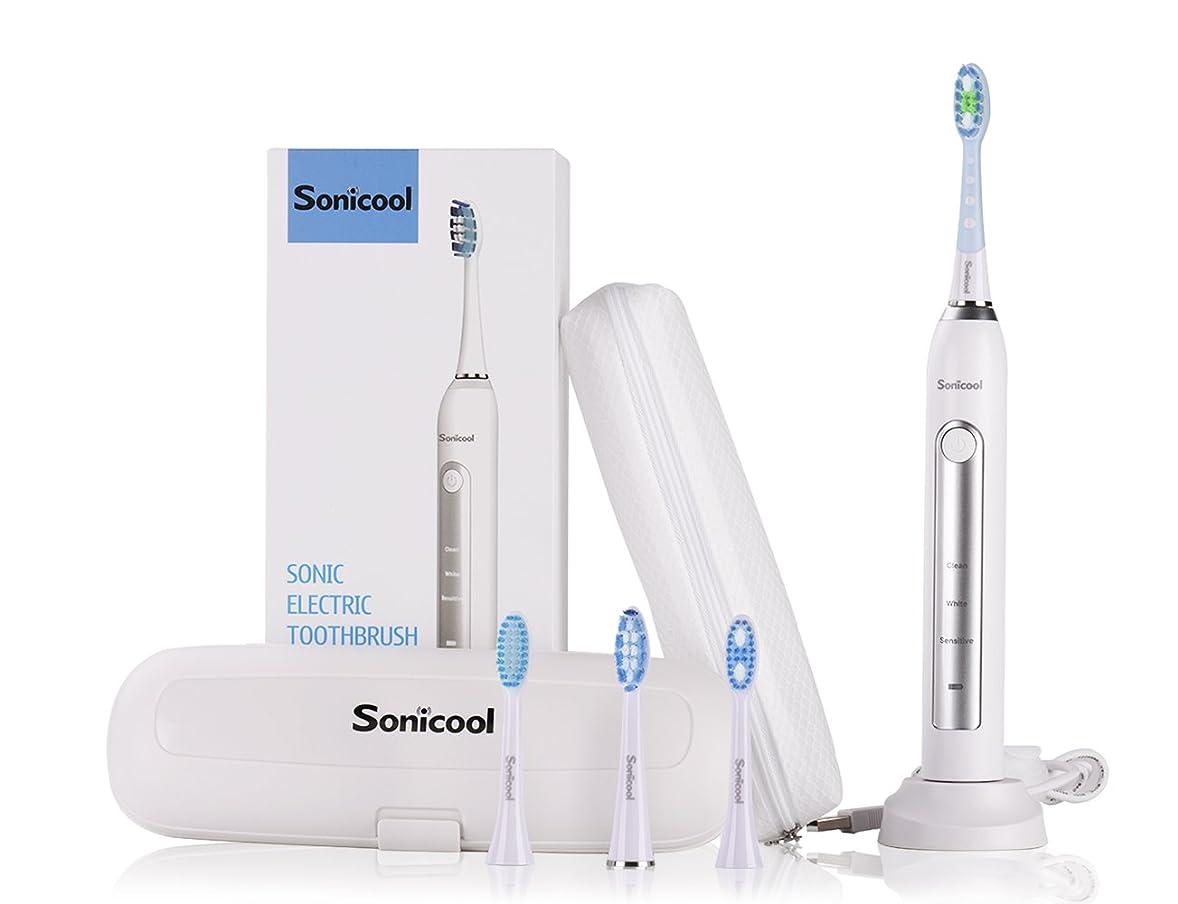 社交的ライバル偽物電動歯ブラシ Sonicool 超音波振動歯ブラシ 4本替えブラシ 3モート 2分間タイマー IPX7防水 丸水洗い USB充電式 長持ち 収納ケース付属 ホワイト