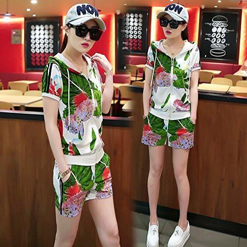 QNQA les shorts taille d'été temporaires sportswear costume deux pièces 3 mode d'impression,m,blanc