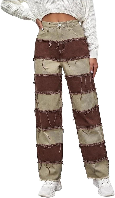 Fudule Y2K Pants for Women High-Waist Holes Jeans Casual Straight Leg Trousers Slim Patchwork Denim Pants 90s Streetwear