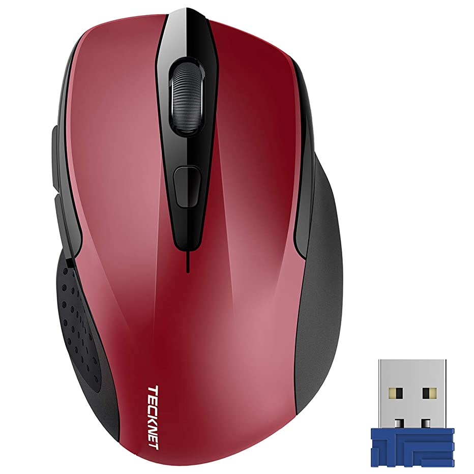 TeckNet Pro 2.4G Ergonomic Wireless Mobile Optical Mouse with USB Nano Receiver for Laptop,PC,Computer,Chromebook,Notebook,6 Buttons,24 Months Battery Life,5 DPI Adjustment Levels