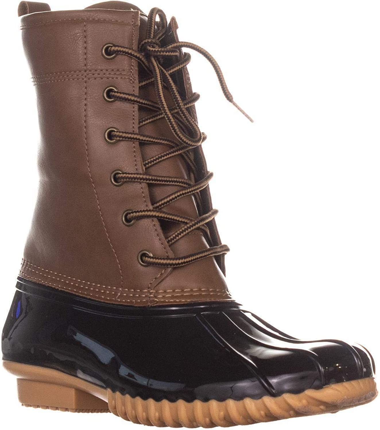 Sporto Ariel Lace Up Duck Rain Boots, Tan Brown