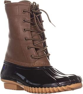 Womens Ariel Faux Leather Ankle Rain Boots Tan 8.5 Medium (B,M)