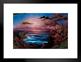 Poster Foundry Bob Ross Ebony Sea Art Print Painting by ProFrames Framed Matted in Black Wood 20x26 inch Black 253393