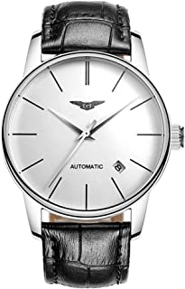 Guanqin Men Analog Business Automatic Self-Winding Mechanical Steel/Leather Wrist Watch Date (9 Silver White Black)