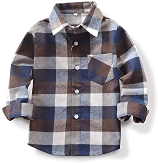 قمصان أطفال للأولاد بأكمام طويلة بأزرار سفلية منقوشة من الفلانيل مع جيب