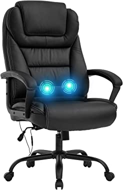 Big and Tall 500lbs Wide Seat Ergonomic Desk Chair with Lumbar Support Arms Headrest Massage Office Chair Rolling Swivel PU L