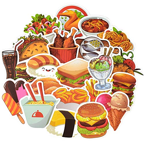 QTL Food Stickers for Kids Cute Food Stickers for Water Bottles Stickers for Adults Teens Laptop Stickers Waterproof Fast Food Stickers Packs 50Pcs