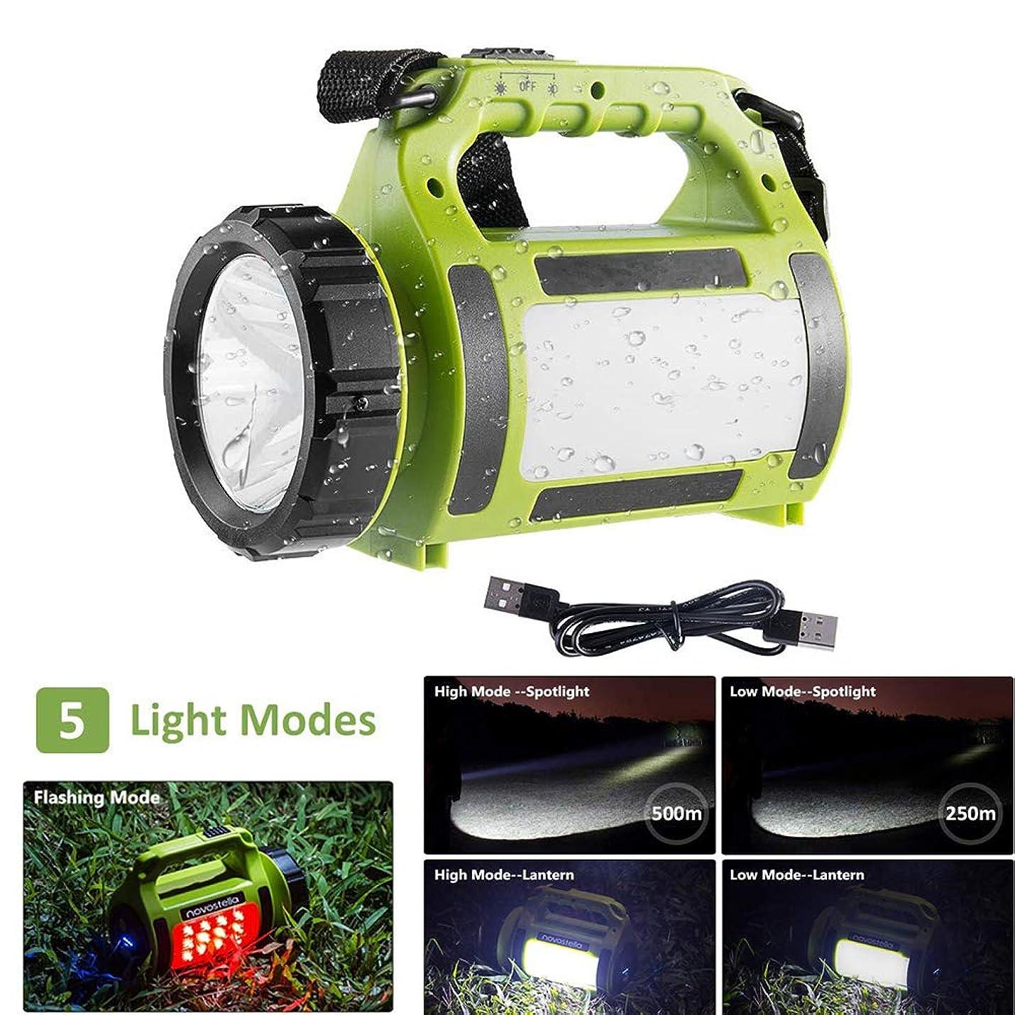 長いです不当スキルポータブル充電式LEDトーチ、多機能キャンプライト、LEDサーチライト防水スポットライト、非常ランプ軽量のランタン650lm、アウトドア用ハイキング