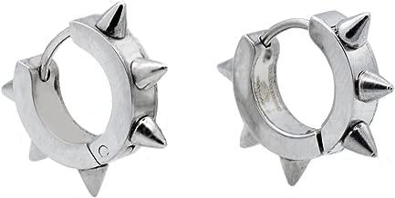 Blackjack Jewelry Mens Stainless Steel Spike Hoop Earrings