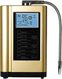 AquaGreen Alkaline Water Ionizer Machine AG7.0 Golden,Water Filtration System for Home,Produces PH 3.5-10.5 Acid Alkaline Water,Up to -500mV ORP,6000 Liters Per Filter,7 Water Settings,Auto-Cleaning