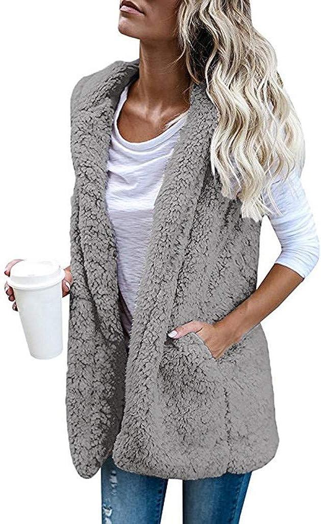 VEKDONE Women Fuzzy Sherpa Fleece Jackets OFFer Sleeveless All stores are sold Vest O Cozy