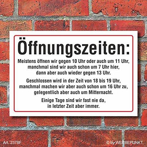 WERBEPUNKT. (2378) Schild Öffnungszeiten lustig, Fun, 3 mm Alu-Verbund (300 x 200 mm)