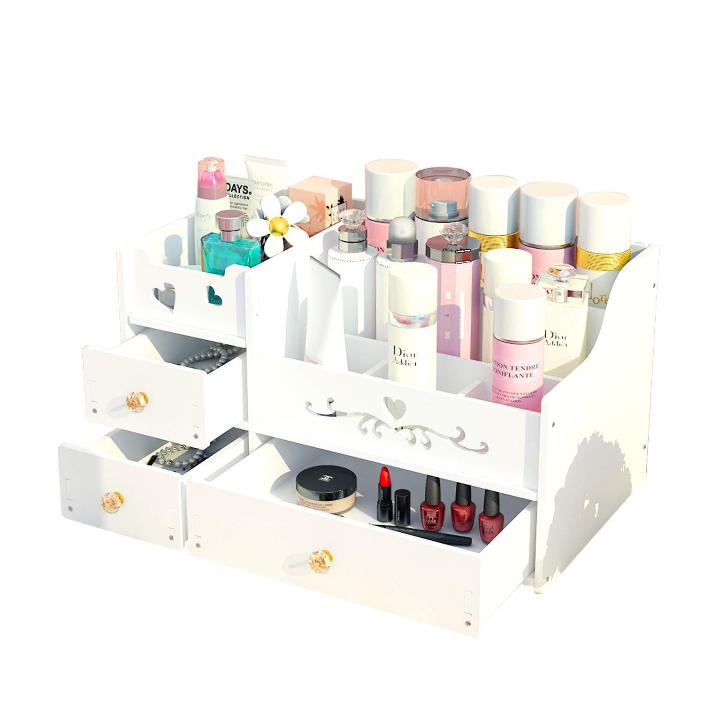 化粧品収納 白 洗面所 ボックス 仕切り 大容量 組み立て メイクボックス コスメボックス 木製 卓上 DIY 整理 小物入れ 収納引き出し 化粧品収納ボックス コスメ収納ボックス