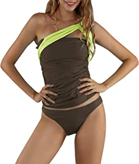 6d9ff328f1 Nutashafeel Womens One Shoulder Swimsuit Two Piece Ruched Tummy Control Tankini  Swimwear