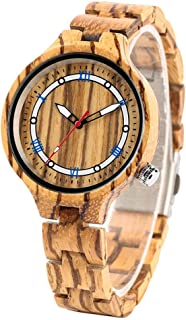 CAIDAI&YL Reloj de Pulsera con Brazalete de Madera Natural, Movimiento de Cuarzo, visualización de números, Reloj para ...