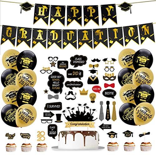 Amycute Decoracion graduacion Photo Booth Prop y Globos Oro Negro, Clase de 2020 Banner de graduación, Cabina de Fotos Accesorios Sombrero Gafas Bigote Labios en Universitaria Regalos de Graduación