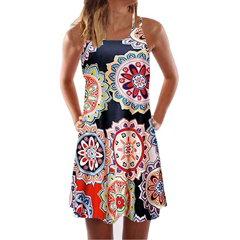 Women Boho Dress Vintage Sleeveless Beach Printed Short Dress Summer Mini Plus Size Dress