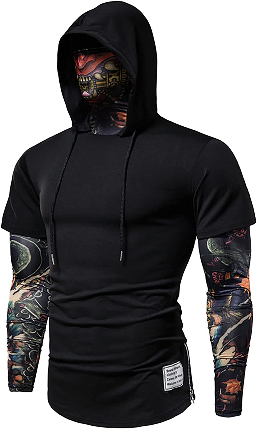 Mens Hoodie Sweatshirt Cosplay Fake Two Pieces Hooded Pullover Sports Riding Casual Novelty Tops Blouse