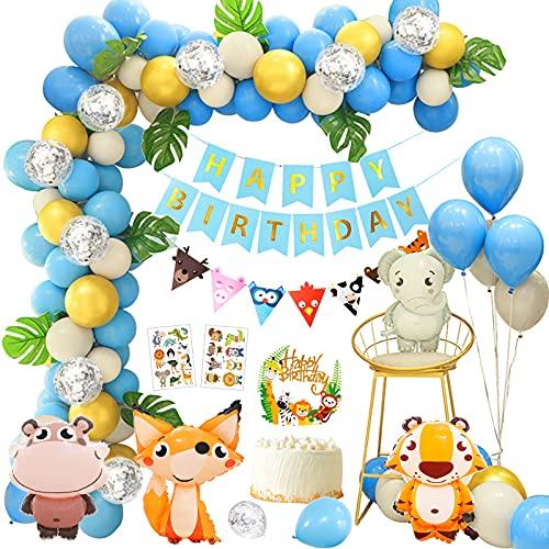 Giungla Decorazione di Compleanno Palloncini Addobbi Festa Compleanno Bambini con Decorazioni Torta Compleanno Foglie di Palma Palloncini in Lattice E Safari Forest Animal per Ragazzo