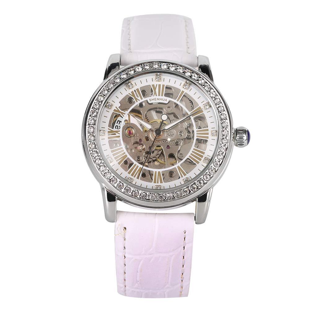YISUYA 女士水钻骷髅手表 不锈钢蒸汽朋克自动防风机械腕表 带白色皮革表带 优质礼品盒