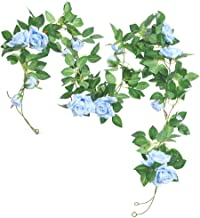 AKSIPO 2pcs Artificial Rose Vines Faux Flower Garland Fake Rose Flower Vines Hanging Silk Rose Ivy Plants for Home Hotel O...