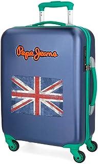 Pepe Jeans Bristol Valise Trolley Cabine Bleu 36,5x55x20 cms Rigide Serrure TSA 33L 2,6Kgs 4 roues Bagage à main