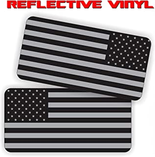 AMERICAN FLAG (REFLECTIVE) Military SUBDUED FLAGS (2 PACK - 1-LEFT, 1 RIGHT) Vinyl Hard Hat Helmet decal - size: 2