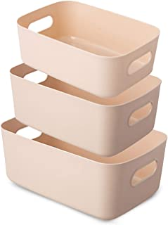 Bgfuni Lot de 3 Panier de Rangement en Plastique Blanc, Panier Plastique Rangement, Panier en Plastique avec Anse pour Pla...