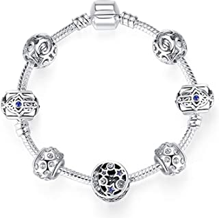 sensitives Original Silver 925 Crystal Four Leaf Clover Bracelet with Clear Murano Glass Beads Charm Bracelet Bangle for Women DIY Jewelry,PS3750,17cm