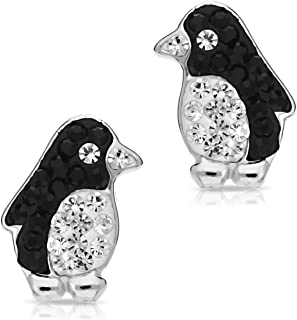 Cute Underwater Champion Penguin Aquatic Bird Earrings, Never Rust 925 Sterling Silver Natural & Hypoallergenic Studs For Women, Girls and Kids with Free Breathtaking Gift Box for Special Moments
