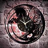 wtnhz LED Reloj de Pared de Vinilo Colorido Caballo Disco de Vinilo Reloj de Pared Reloj Animal Regalo de cumpleaños para Hombre Reloj de Pared de Caballo Regalo Moderno Reloj de Caballo Animal de