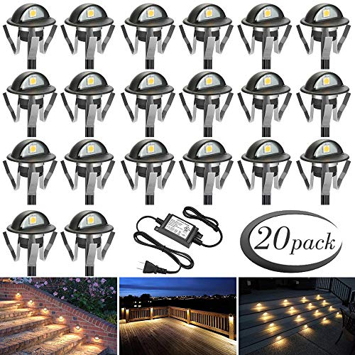 FVTLED Pack of 20 Warm White Low Voltage LED Deck lights kit Φ1.38