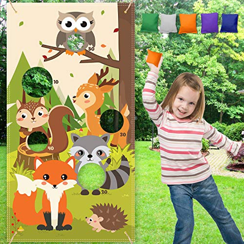 Woodland Animal Toss Game Banner With 5 Bean Bags For Forest Friends Wild One Camping Theme Party Kids Family Garthering Indoor Outdoor Party Supplies