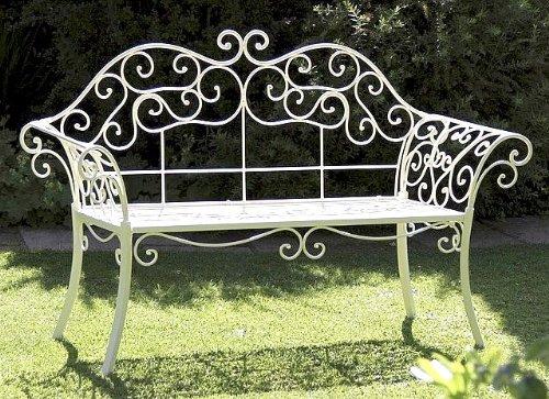 DanDiBo Gartenbank Romance Weiß 111183 Bank 146 cm aus Schmiedeeisen Metall Sitzbank - 7