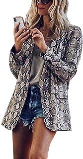 VJGOAL Blazer de Mujer Estampado de Piel de Serpiente Trajes de Solapa de Manga Tres Cuartos Chaquetas Abrigo Se/ñoras Oficina Casual Vintage Parka Abrigos Chaqueta de Fiesta