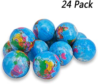 Wang-Data Squeezable World Stress Balls for Kids Mini World Globe Earth Ball 24 Pack - Pressure Relieving Health Balls Globe Pattern Balls for Kids, School, Classroom, Party Favors (2.5