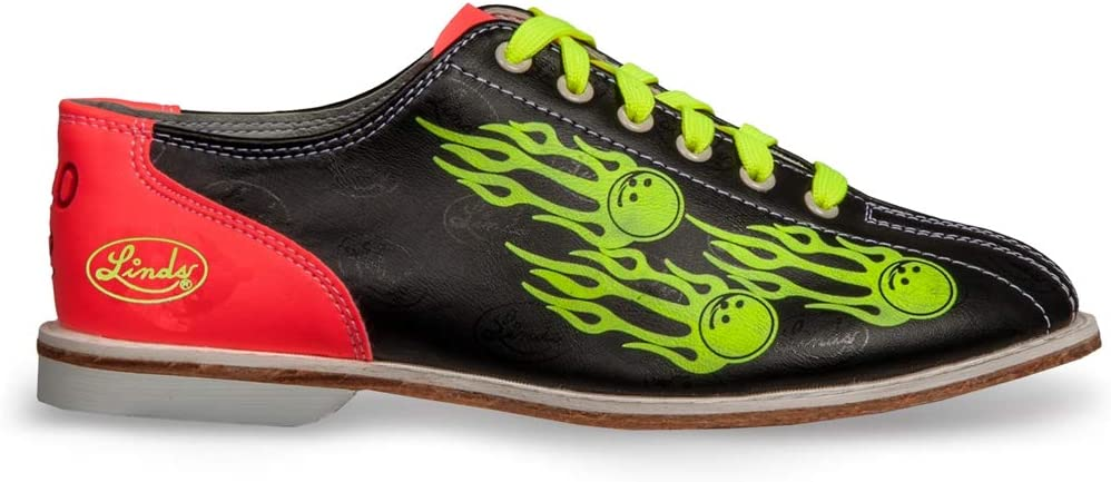 Linds Women's Glow Balls of Fire Bowling Shoes - Laces 6