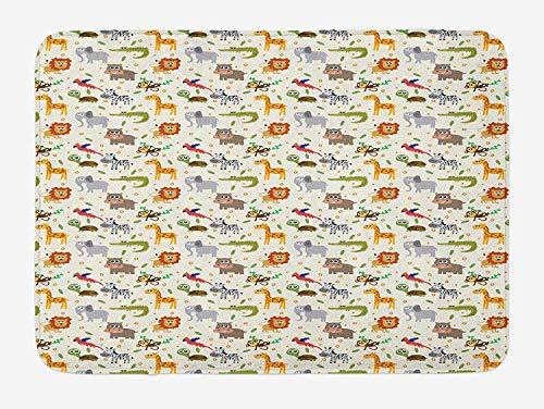 Baby Bad Mat, Exotische Giraffe Leeuw Afrikaanse Zebra Grappige Olifant Aap Krokodil Kwekerij Cartoon, Pluche Badkamer Decor Mat met Niet Slip Backing, 23,6 x 15,7 Inch, Multi kleuren