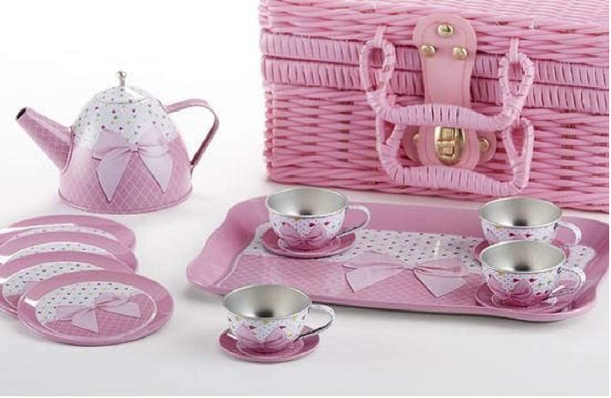 Delton Products Tin 15 25% OFF Pieces Tea Set Bow in Servewa Pink Basket Denver Mall