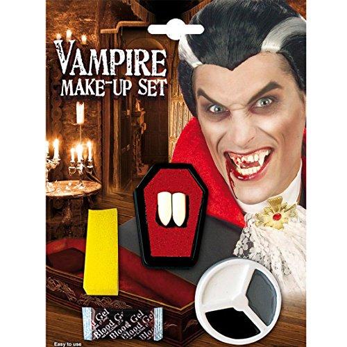 NET TOYS Set de Maquillage de Vampire Dents de Vampire Blanc Noir Gris Maquillage de Vampire avec Canines Vampire Canines Dents de Dracula et Maquillage d'halloween
