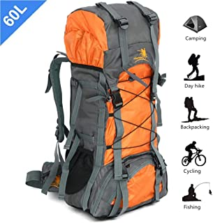 60L Outdoor Mountaineering Bag Large Capacity Waterproof Fashion Foldable Backpack for Hiking Camping Fishing Traveling Orange